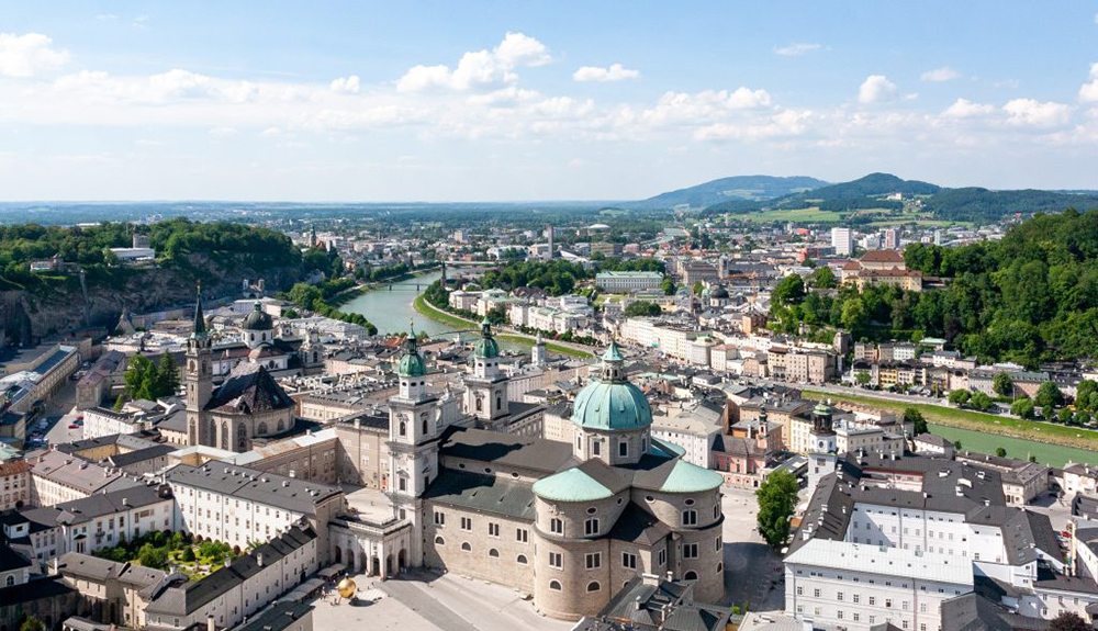 View of Salzburg city with university